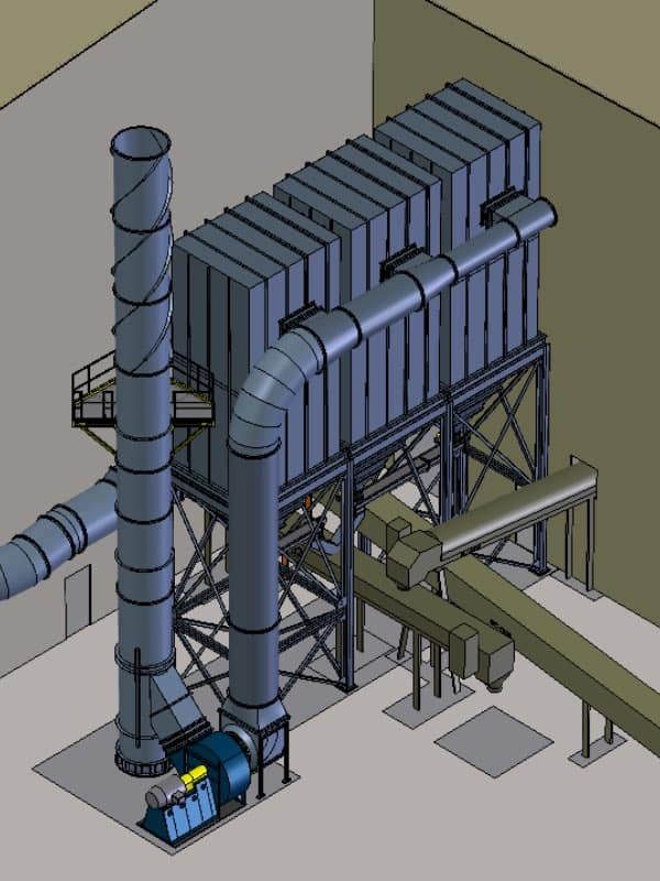3D model of a baghouse